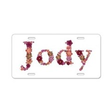 Jody Pink Flowers Aluminum License Plate