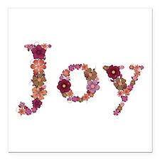 Joy Pink Flowers Square Car Magnet