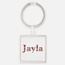Jayla Pink Flowers Square Keychain