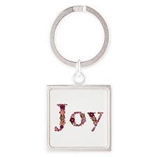 Joy Pink Flowers Square Keychain