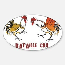 Coq bataille Oval Decal
