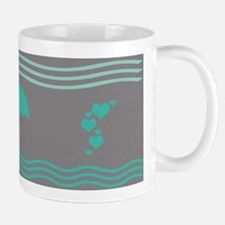 Aqua Umbrella Hearts Mugs