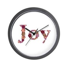 Joy Pink Flowers Wall Clock