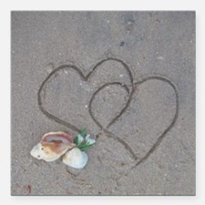 """hearts and shells on san Square Car Magnet 3"""" x 3"""""""