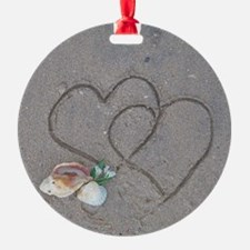 hearts and shells on sand Ornament