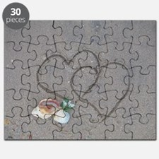 hearts and shells on sand Puzzle