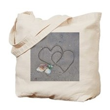 hearts and shells on sand Tote Bag