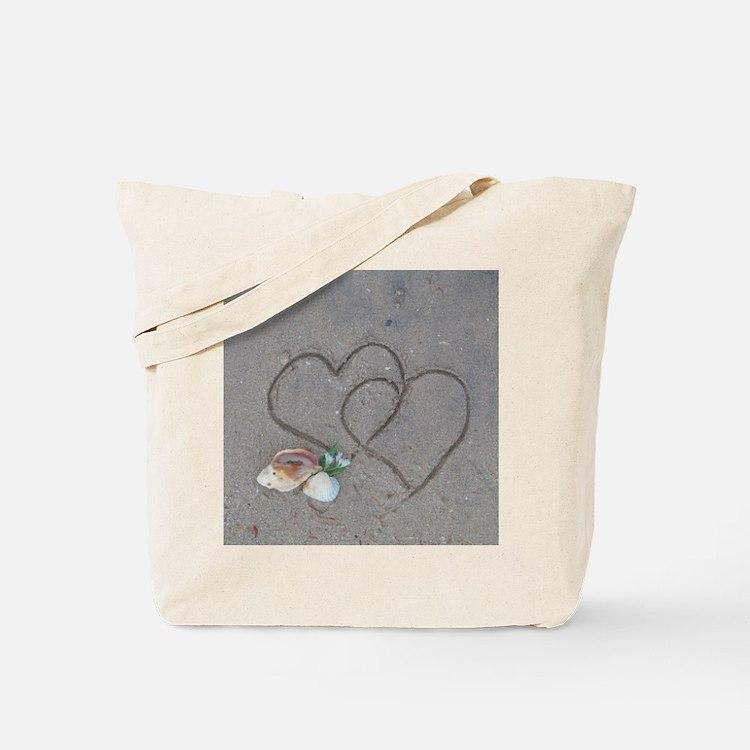 hearts and shells on sand Tote Bag