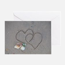 hearts and shells on sand Greeting Card