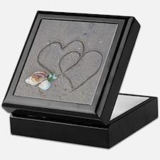 hearts and shells on sand Keepsake Box