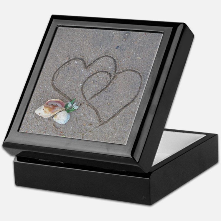 hearts and shells on sand Keepsake Box