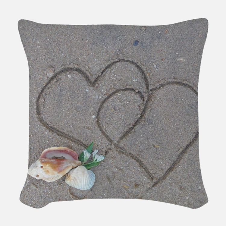 hearts and shells on sand Woven Throw Pillow