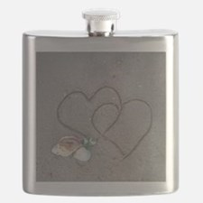 hearts and shells on sand Flask