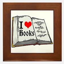 I heart books Framed Tile
