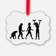 Female Weightlifter Evolution Ornament