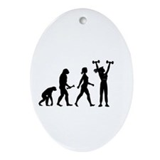 Female Weightlifter Evolution Ornament (Oval)