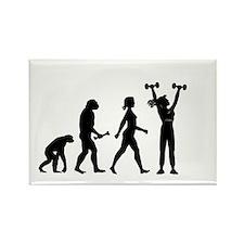 Female Weightlifter Evolution Magnets