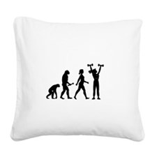 Female Weightlifter Evolution Square Canvas Pillow