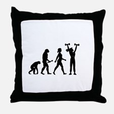 Female Weightlifter Evolution Throw Pillow
