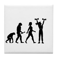 Female Weightlifter Evolution Tile Coaster
