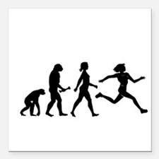 "Female Runner Evolution Square Car Magnet 3"" x 3"""