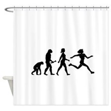 Female Runner Evolution Shower Curtain
