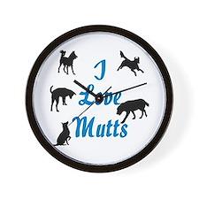 I Love Mutts Wall Clock