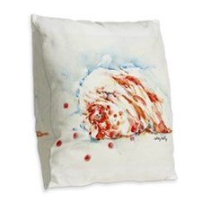 Sweet Clumber Dreams Burlap Throw Pillow