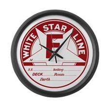 White Star Line Luggage Tag- No N Large Wall Clock