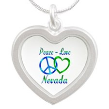 Peace Love Nevada Silver Heart Necklace
