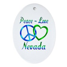 Peace Love Nevada Ornament (Oval)