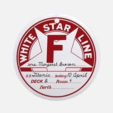 "White Star Line Luggage Tag- ""Molly Round Ornament"