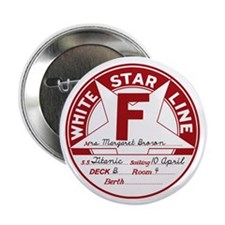 """White Star Line Luggage Tag- """"Molly B 2.25"""" Button"""