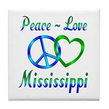 Peace Love Mississippi Tile Coaster