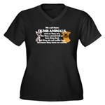 Dumb Animals Women's Plus Size V-Neck Dark T-Shirt