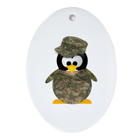 Army Penguin Oval Ornament