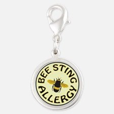 BEE STING ALLERGY Silver Round Charm