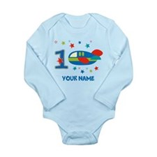 1st Birthday Airplane Long Sleeve Infant Bodysuit
