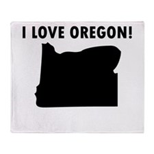 I Love Oregon Throw Blanket
