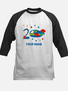 2nd Birthday Airplane Kids Baseball Jersey