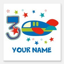 "3rd Birthday Airplane Square Car Magnet 3"" x 3"""