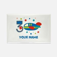 3rd Birthday Airplane Rectangle Magnet (10 pack)