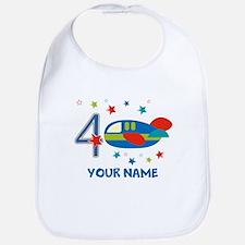 Airplane 4th Birthday Custom Bib