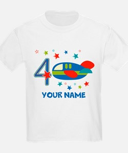 Airplane 4th Birthday Custom T-Shirt