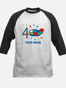 Airplane 4th Birthday Custom Kids Baseball Jersey