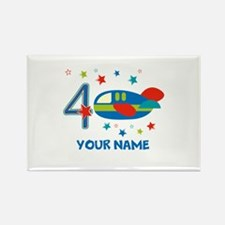Airplane 4th Birthday Custom Rectangle Magnet