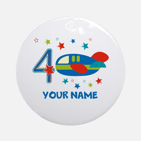 Airplane 4th Birthday Custom Ornament (Round)