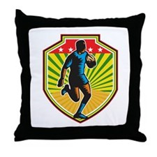 Rugby Player Running Ball Shield Retro Throw Pillo
