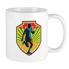 Rugby Player Running Ball Shield Retro Mugs