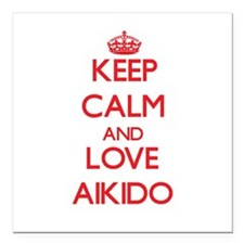 """Keep calm and love Aikido Square Car Magnet 3"""" x 3"""